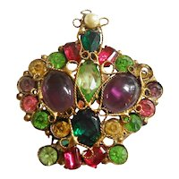 Robert Gold Tone Filigree Multi Stone Crown Brooch circa 1940