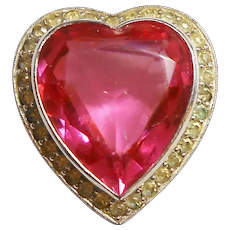 Signed Jomaz Heart Brooch w/ Pink Stone circa 1960