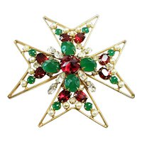 Signed Schreiner New York Maltese Cross Brooch circa 1960