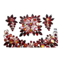 DeLizza & Elster Juliana Red & Aurora Rhinestone Bracelet, Brooch & Earring Set circa 1960