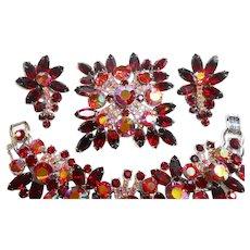 DeLizza & Elster Juliana Red & Aurora Rhinestone Bracelet, Brooch & Earring Set circa 1960