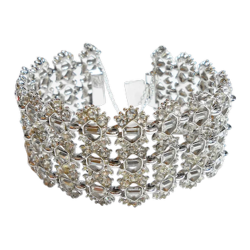 Signed Bogoff Thick Rhodium Plated Real Look Bracelet c. 50