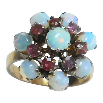 9kt Rose Gold Opal & Ruby Dome Princess Style Ring size 8
