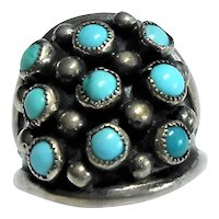 Sterling Silver & Turquoise Native American Ring c. 1960