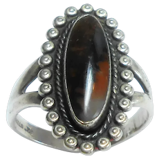 Sterling Silver & Agate Red Harvey Style Ring c. 1970