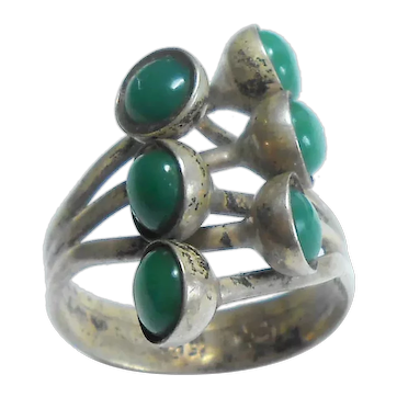 Signed 900 Silver Eagle #3 Green Stone Mid Mod Ring c. 1960