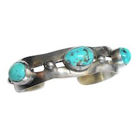 Native American Vintage Sterling & Turquoise Cuff Bracelet