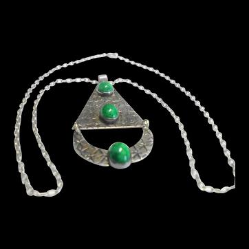 Sterling & Art Glass Mid Century Scandinavian Design Necklace
