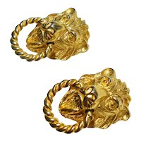 Signed Gold Tone Lion Head Knocker Mimi di N  Earrings c. 1970