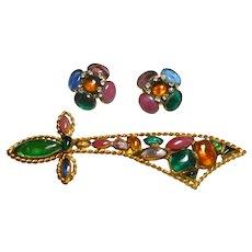 Signed Hattie Carnegie Gripoix Glass Sword Brooch & Earrings c. 50