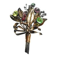 Signed Hobe Sterling Bouquet Brooch w/ Faceted Glass Stones c. 40