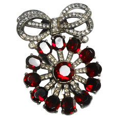 Signed Eisenberg Originals Sterling Red & Clear Floral Clip c. 1940