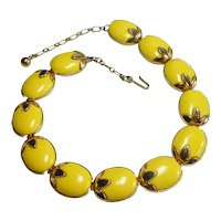 Signed Trifari Yellow Lucite Insert Fruit Necklace circa 1950