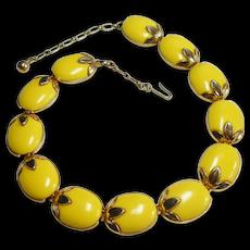 Signed Trifari Yellow Lucite Insert Fruit Necklace circa 1950