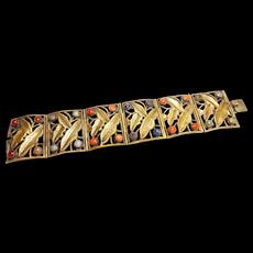 Signed China Export Thick Brass Leaf Bracelet c. 1930