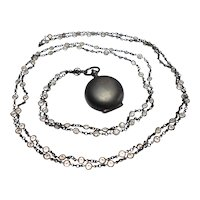 Art Nouveau Watch Chain & Coin Locket in Gun Metal circa 1900