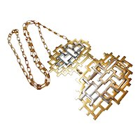 Signed Napier Geometric Two Tone Pendent Necklace
