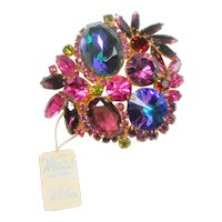 Signed Weiss Watermelon, Blue, Fuchsia & Purple Rhinestone Brooch c. 1960