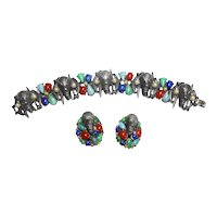 Signed Art Pewter Tone Bracelet & Earring Set w/ Tribal Masks & Faux Gems c. 60