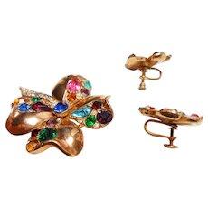Early Signed Lisner Rose Gold Tone Rhinestone Clover & Earring Set c. 1940