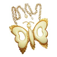 Runway DeLizza & Elster Cream Butterfly Necklace circa 1970