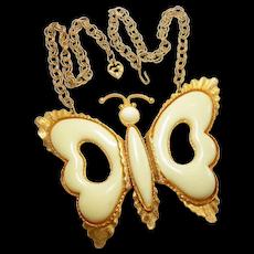 Runway DeLizza & Elster Cream Butterfly Necklace circa 1970