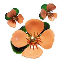 Sarah Coventry Apricot Enamel Flower Brooch & Earring Set circa 1960