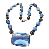 Signed Czechoslovakia Blue Glass & Gilded Brass Necklace circa 1930