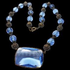 Signed Czechoslovakia Blue Glass & Gilded Brass Necklace circa 1930