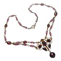 Signed Czechoslovakia Purple Glass & Gilded Brass Necklace circa 1930