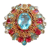 Signed Original by Robert Gorgeous Filigree Jeweled Brooch c. 1940