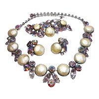 Signed Regency Purple & Pearl Tone Necklace, Brooch & Earring Set c. 1960