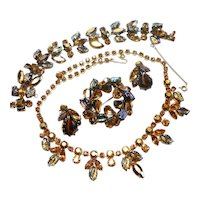 Regency Chocolate Rhinestone w/ Carved Glass Leaves Necklace, Brooch & Bracelet c. 60