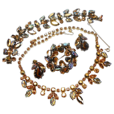Regency Chocolate Rhinestone w/ Carved Glass Leaves Necklace, Brooch & Bracelet c. 60