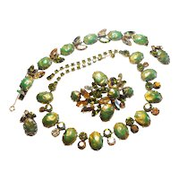 Signed Regency Necklace, Brooch, Bracelet & Earring Set Golds & Olives c. 1960