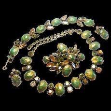 Signed Regency Necklace, Brooch, Bracelet & Earring Set Golds & Olives c. 1960