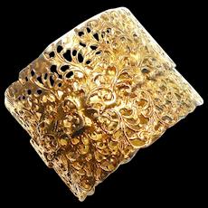Signed Pauline Rader Thick Gold Tone Filigree Bangle Clamper c. 60
