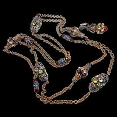 Napier Filigree, Rhinestone & Chain Necklace & Earring Set c. 1960