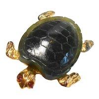 Signed Swoboda Gold Plated & Jade Turtle Brooch circa 1970