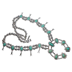 Signed Celebrity Massive Imitation Silver & Turquoise Squash Blossom c. 1970