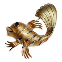 Signed Trifari Gold Tone Fish w/ Red Cabochon Eyes circa 1950