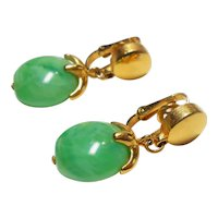 """Signed Trifari Green Marbled Lucite """"Waterfall"""" Earrings c. 1960"""