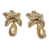 Signed Ciner Gold Tone w/ Paste Stones & Imitation Pearl Drop Earrings