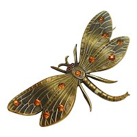 Art Nouveau Gilded Bronze Dragonfly Brooch circa 1900
