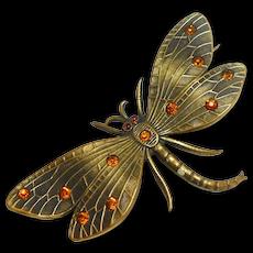 Art Nouveau Gilded Bronze Dragonfly Brooch circa 1900