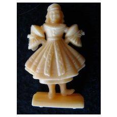 Czechoslovakia figurine, vintage plastic, old game piece.