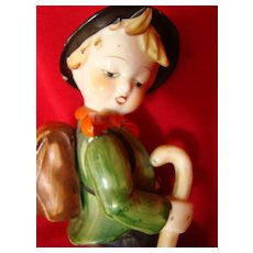Japan Hummel Boy - Tall Porcelain German Hiker from Japan, Lefton