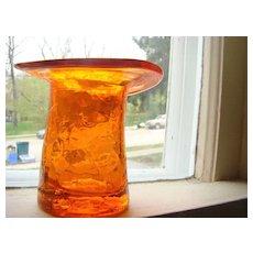 Vintage Crackled Glass Top Hat ORANGE