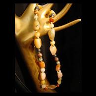 Vintage polished Quartz Beggar Beaded Necklace