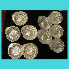 Vintage Set of 10 Sterling Gorham Silver Shell Design Bonbon Dishes Engraved JHG